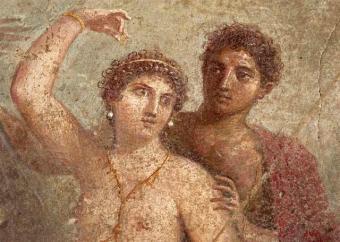 Dos divinidades romanas, en uno de los frescos de Pomepya que se muestran tras diez años de restauración.